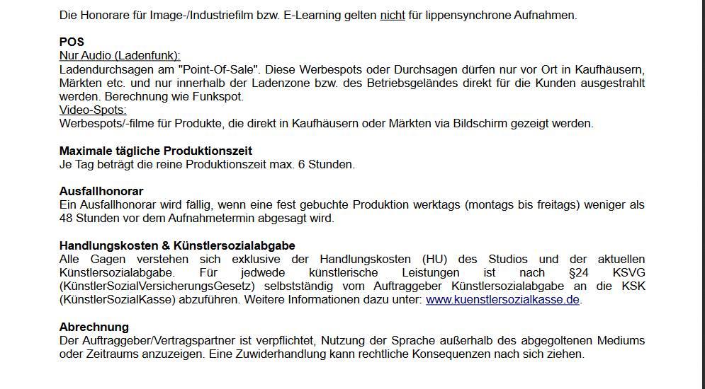 gagenliste deutscher sprecher